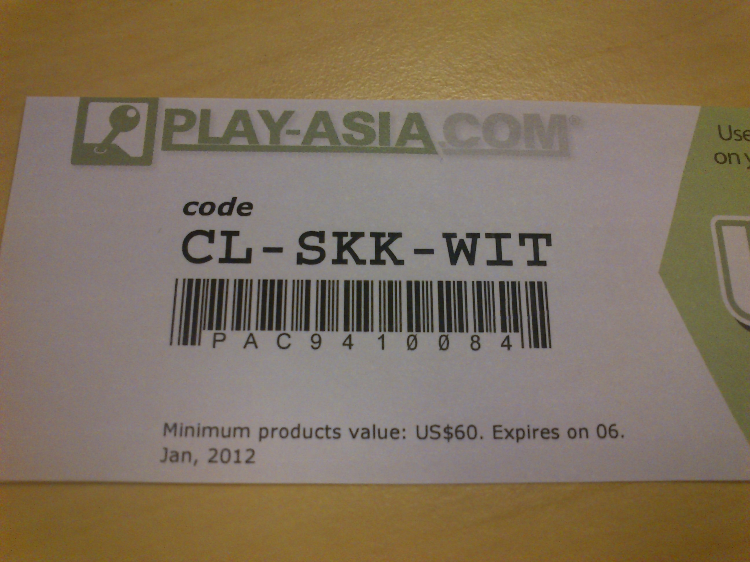 Купон на получон скидки в Play-Asia