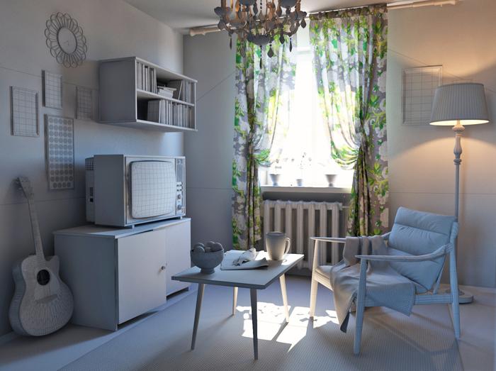 комната 80-ых 3d-модель
