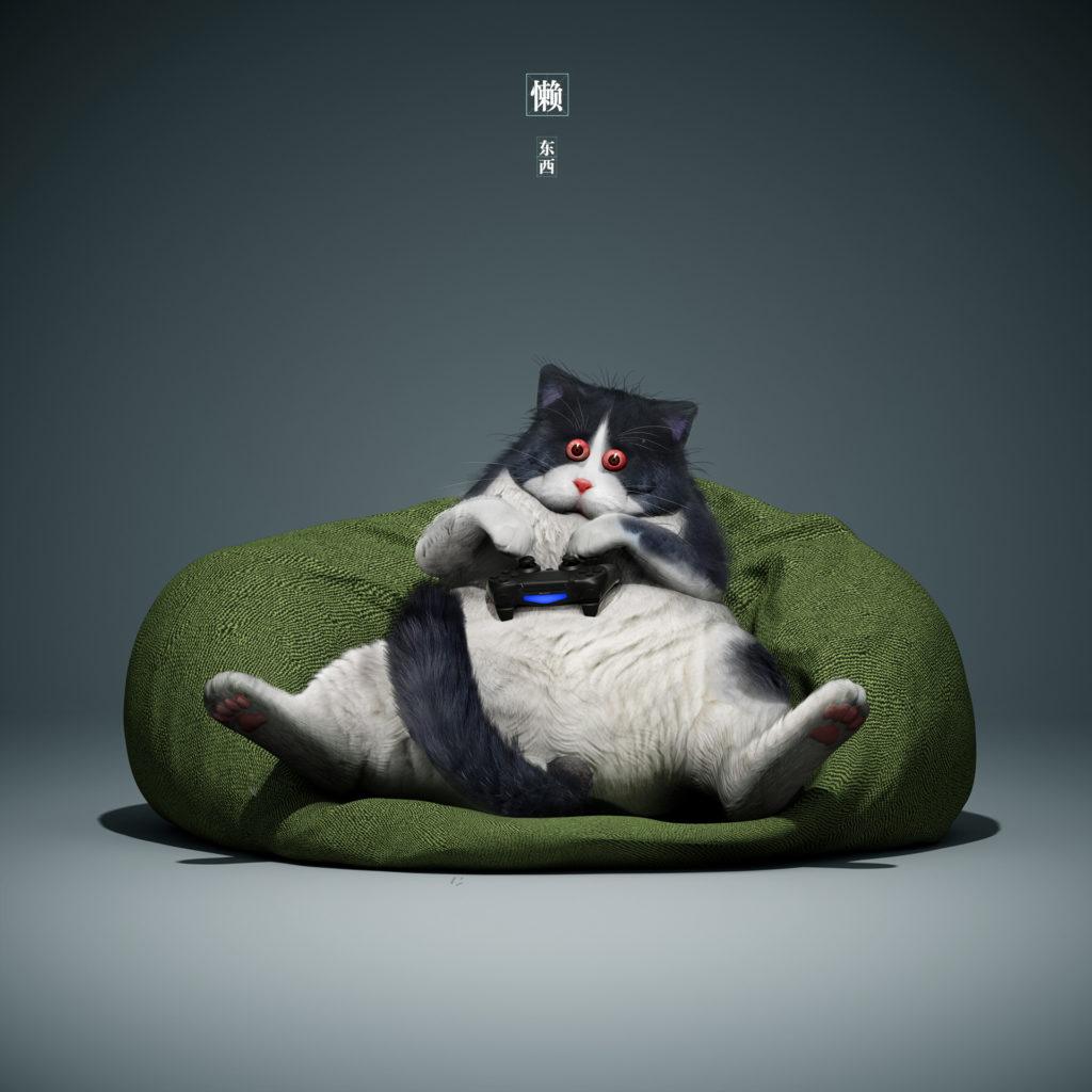 Кот играет в PS4