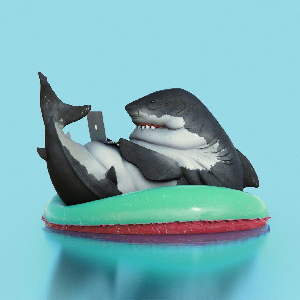Акула играет на MacBook