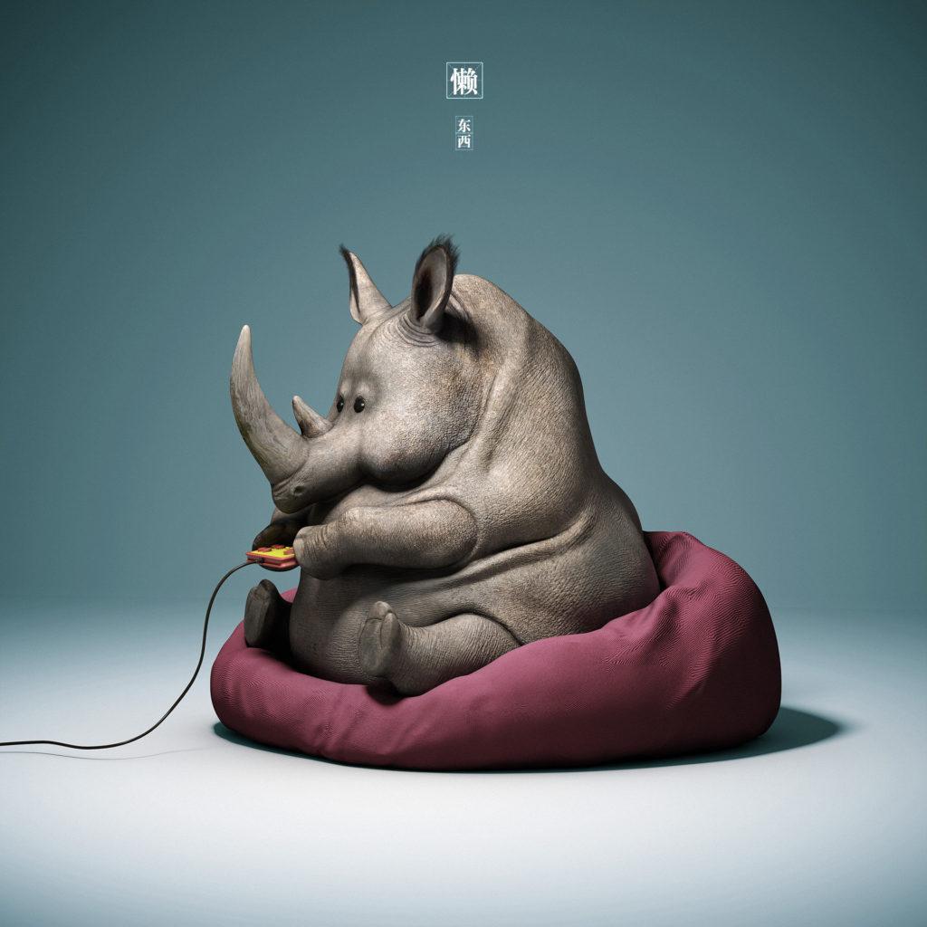 Носорог играет в NES
