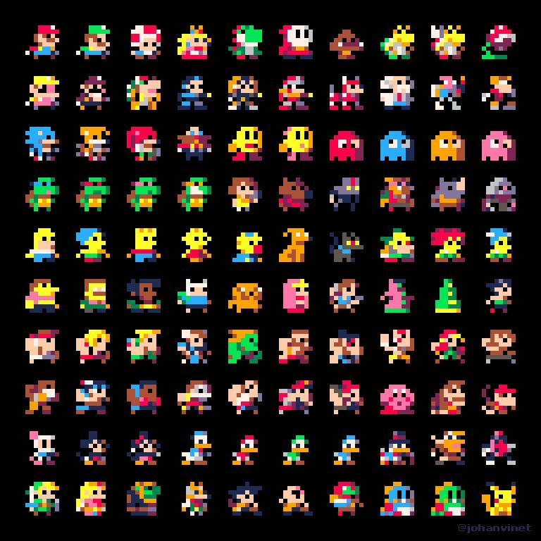8x8 sprites of classic videogame characters