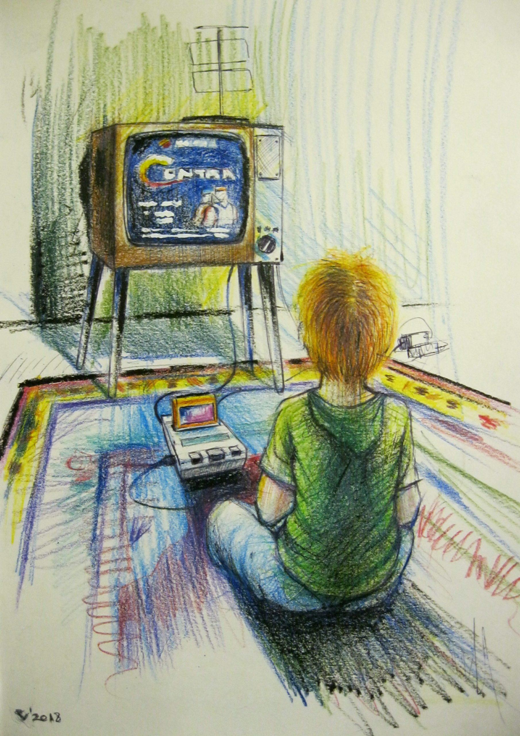 Мальчик играет в игровую приставку, рисунок карандашем.