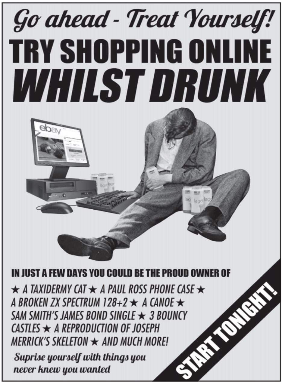 Shopping online whilst drunk